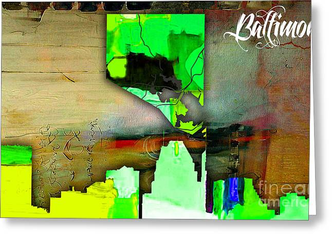 Maps Greeting Cards - Baltimore Map and Skyline Watercolor Greeting Card by Marvin Blaine