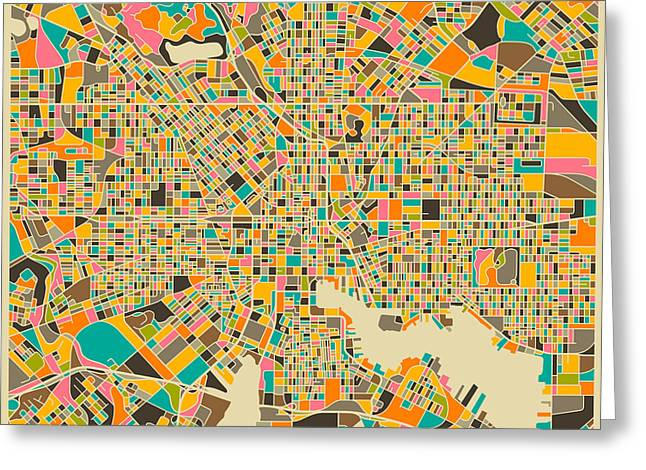 Recently Sold -  - City Art Greeting Cards - Baltimore Map Greeting Card by Jazzberry Blue