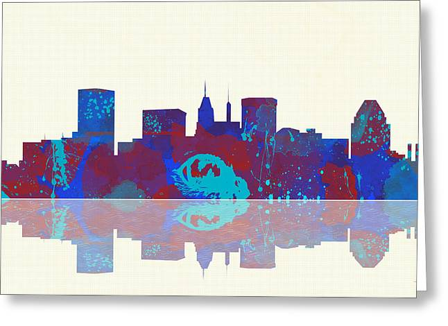 Popular Art Greeting Cards - Baltimore Maryland Skyline Greeting Card by Marlene Watson