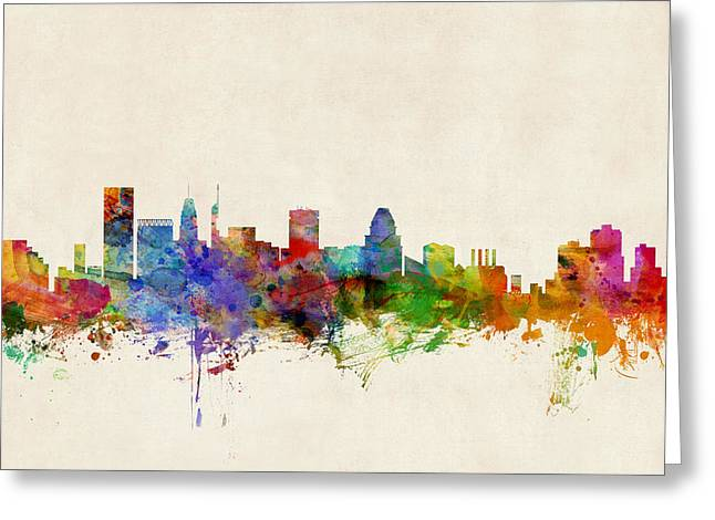 States Greeting Cards - Baltimore Maryland Skyline Greeting Card by Michael Tompsett