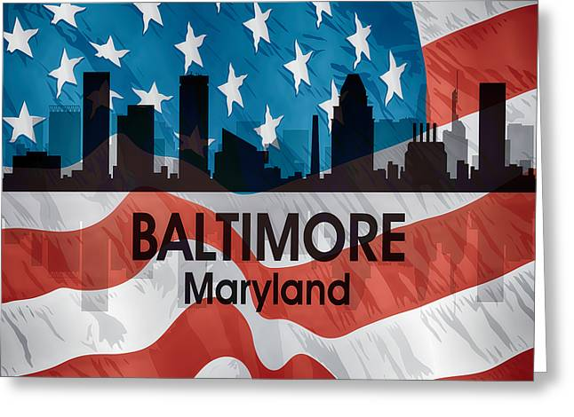 Concrete Jungle Mixed Media Greeting Cards - Baltimore MD American Flag Squared Greeting Card by Angelina Vick