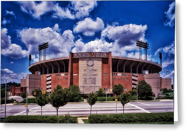 Baltimore Oriole Greeting Cards - Baltimore Memorial Stadium 1960s Greeting Card by Mountain Dreams