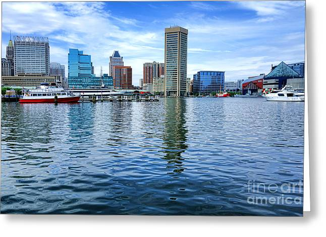 Water Vessels Greeting Cards - Baltimore on the Water Greeting Card by Olivier Le Queinec