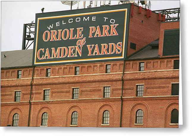Window Frame Greeting Cards - Baltimore Orioles Park at Camden Yards Greeting Card by Frank Romeo