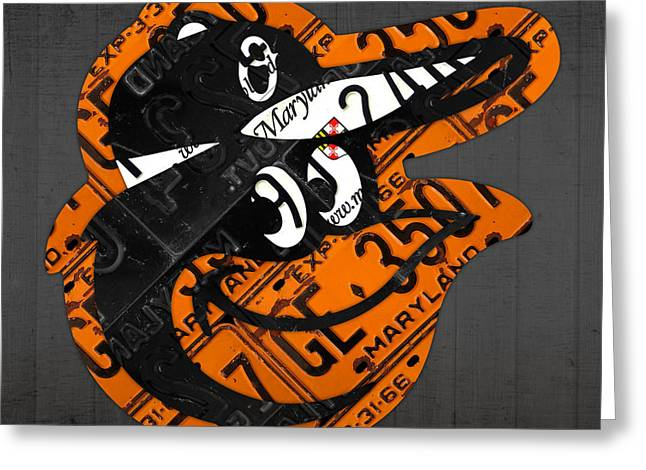 Baltimore Oriole Greeting Cards - Baltimore Orioles Vintage Baseball Logo License Plate Art Greeting Card by Design Turnpike