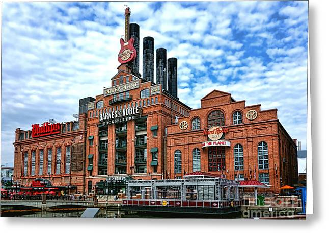Historic City Pier Greeting Cards - Baltimore Power Plant Greeting Card by Olivier Le Queinec