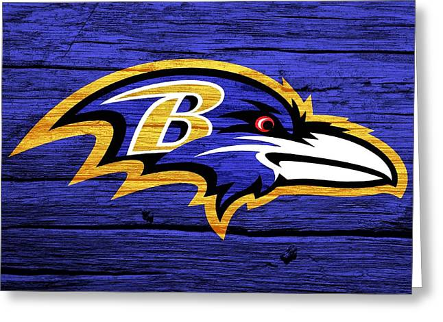Raven Mixed Media Greeting Cards - Baltimore Ravens Barn Door Greeting Card by Dan Sproul