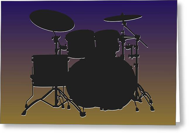 Drum Greeting Cards - Baltimore Ravens Drum Set Greeting Card by Joe Hamilton