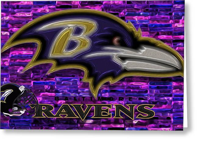 Defensive Greeting Cards - Baltimore Ravens Greeting Card by Jack Zulli