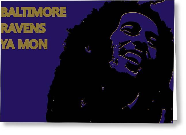 Drum Greeting Cards - Baltimore Ravens Ya Mon Greeting Card by Joe Hamilton