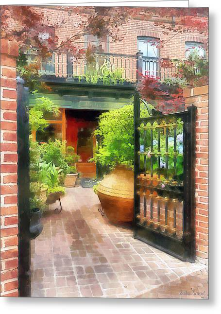 Susan Savad Greeting Cards - Baltimore - Restaurant Courtyard Fells Point Greeting Card by Susan Savad