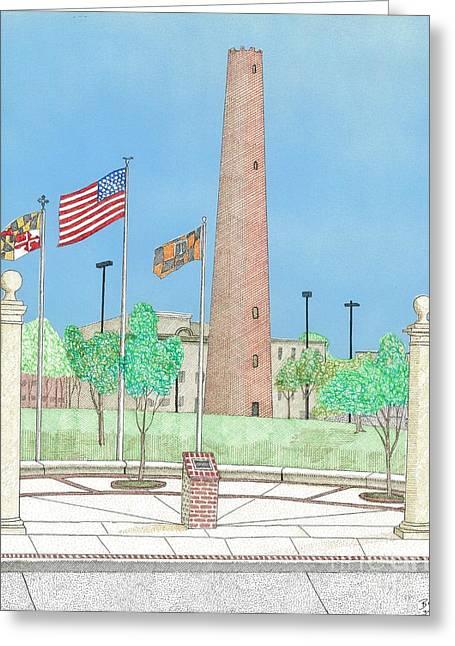 Baltimore Shot Tower Greeting Card by Calvert Koerber