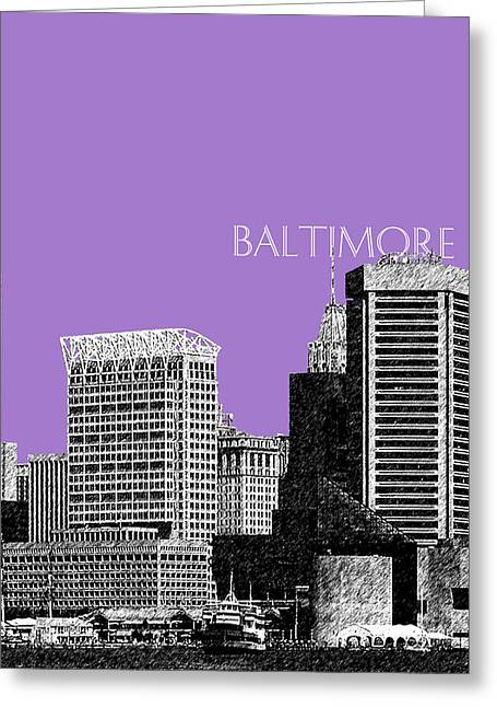 Violet Art Greeting Cards - Baltimore Skyline 1 - Violet Greeting Card by DB Artist