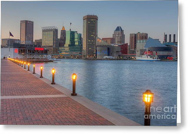 Inner World Greeting Cards - Baltimore Skyline at Twilight I Greeting Card by Clarence Holmes