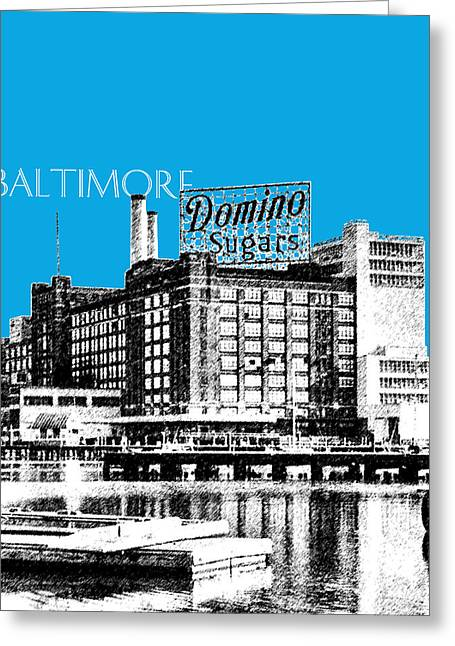 Waterfront Digital Greeting Cards - Baltimore Skyline Domino Sugar - Ice Blue Greeting Card by DB Artist