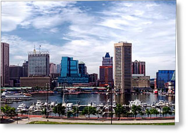 Md Greeting Cards - Baltimore Skyline - Generic Greeting Card by Olivier Le Queinec