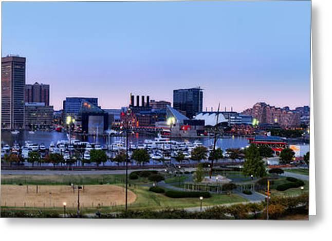 Baltimore Skyline Panorama At Twilight Greeting Card by Susan Candelario