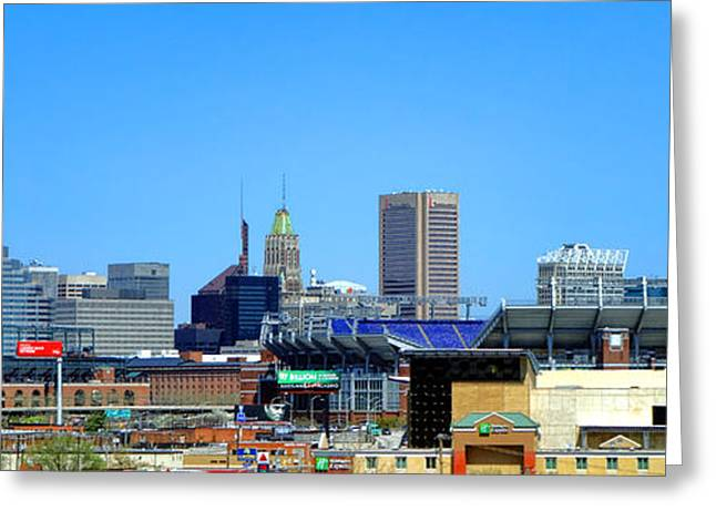 Sports Fields Greeting Cards - Baltimore Stadiums Greeting Card by Olivier Le Queinec