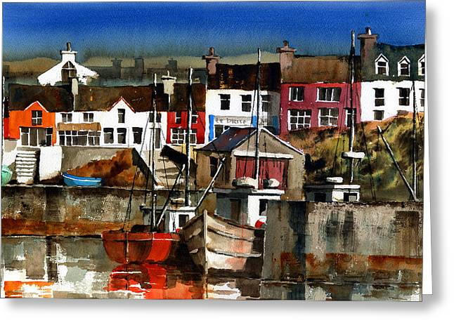 West Cork Greeting Cards - Baltimore Village West Cork Greeting Card by Val Byrne