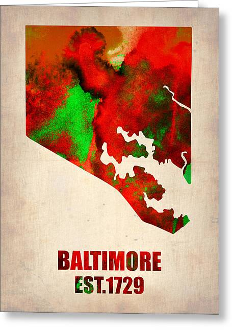 Usa City Map Greeting Cards - Baltimore Watercolor Map Greeting Card by Naxart Studio