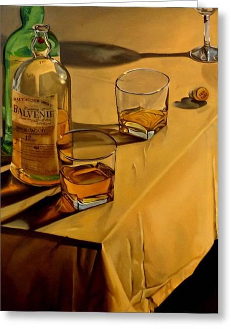Malt Paintings Greeting Cards - Balvenie Scotch Greeting Card by Rick Liebenow