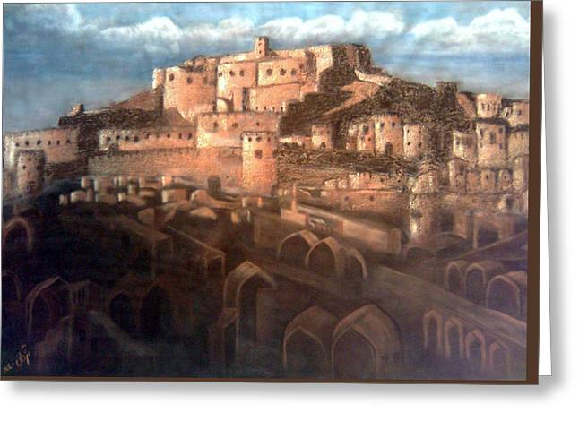 Historical Buildings Pastels Greeting Cards - Bam ancient castle Greeting Card by Mojgan Jafari
