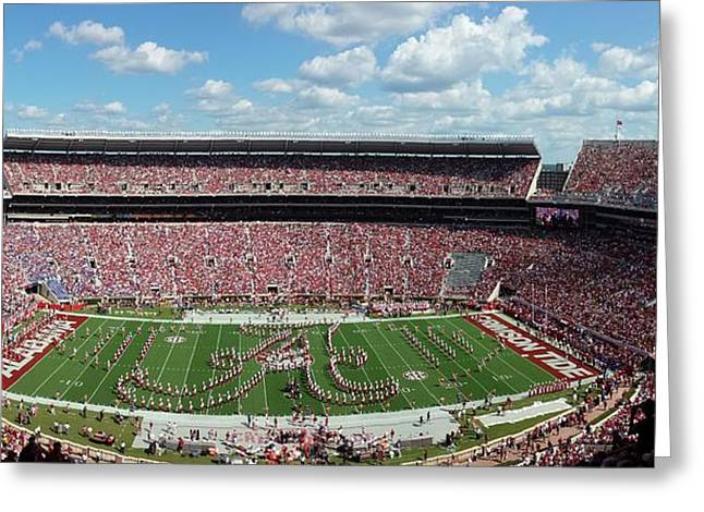 Bryant Denny Stadium Greeting Cards - Bama A Panorama Greeting Card by Kenny Glover