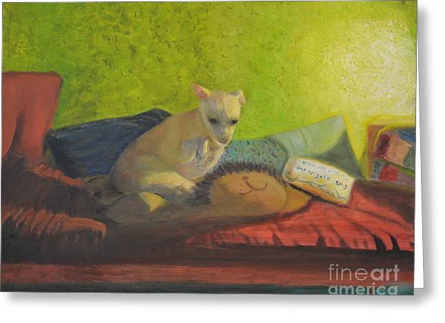 Dog On Couch Greeting Cards - Bambi in Shadow Greeting Card by Jamie AT Alexander
