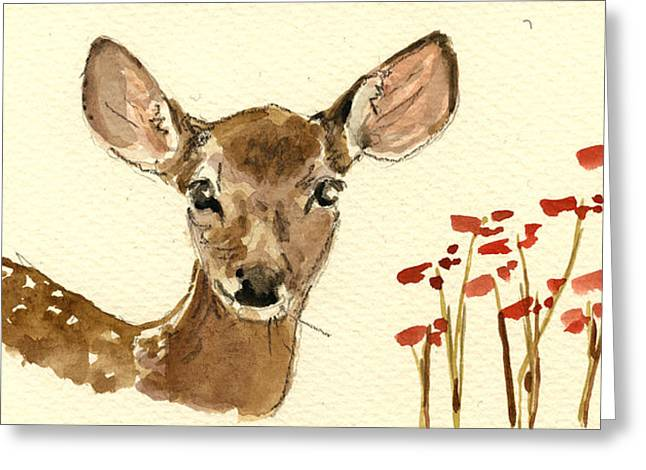 Wildlife Watercolor Greeting Cards - Bambi Greeting Card by Juan  Bosco