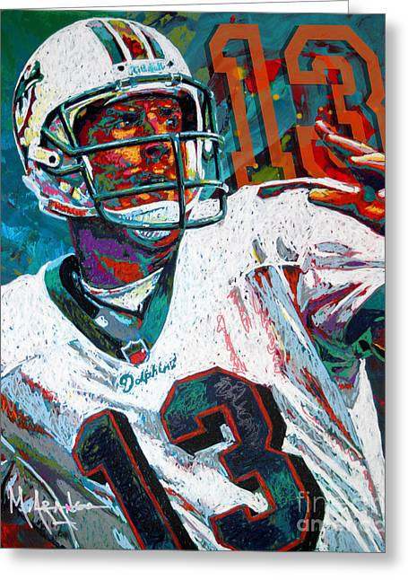 National Football League Paintings Greeting Cards - Bambino dOro Dan Marino Greeting Card by Maria Arango