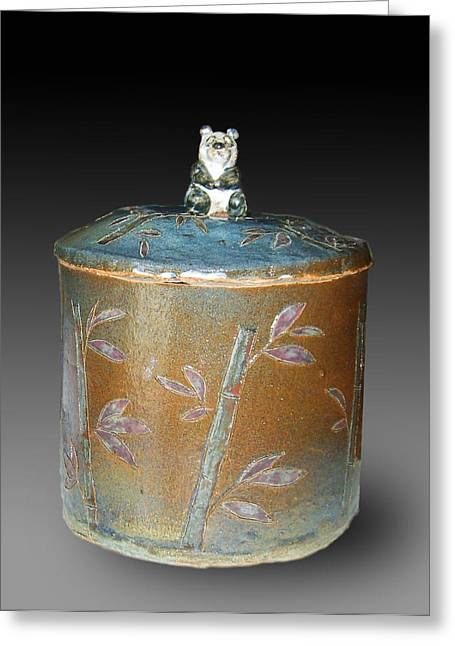 Forest Ceramics Greeting Cards - Bamboo Cookie Jar Greeting Card by Jeanette K