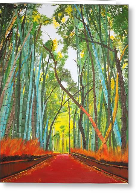 Bamboo Fence Paintings Greeting Cards - Bamboo Greeting Card by Denise Morgan