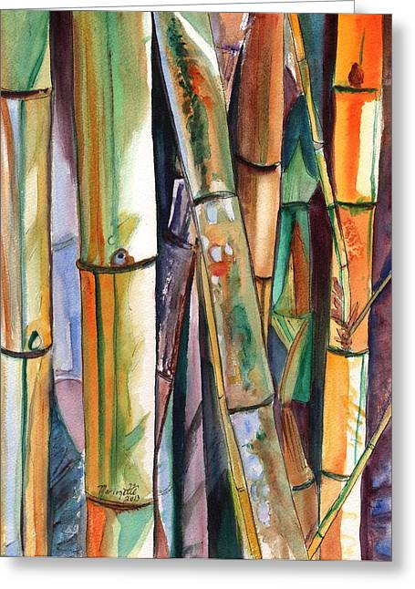 Green Bamboo Greeting Cards - Bamboo Garden Greeting Card by Marionette Taboniar