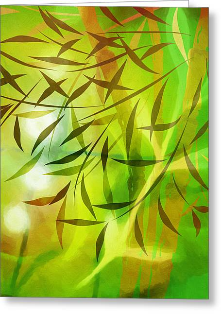 Meditative Greeting Cards - Bamboo Light Greeting Card by Lutz Baar