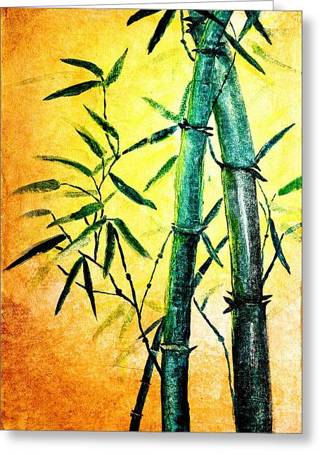 Green Leafs Drawings Greeting Cards - Bamboo magic Greeting Card by Nirdesha Munasinghe