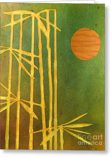 Desiree Paquette Mixed Media Greeting Cards - Bamboo Moon Greeting Card by Desiree Paquette