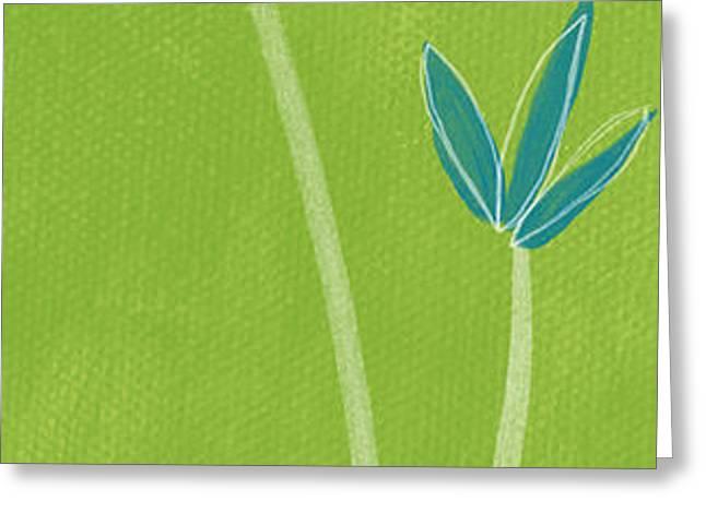 Bamboo Namaste Greeting Card by Linda Woods