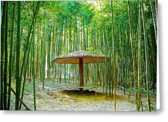 Bamboo Fence Greeting Cards - Bamboo Park Greeting Card by Lanjee Chee
