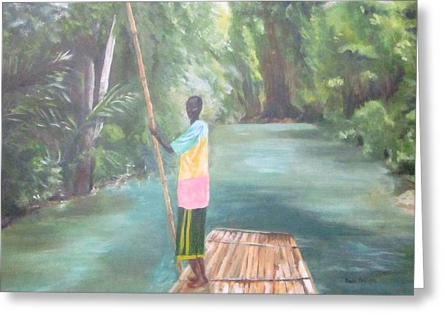 Martha Brae River Greeting Cards - Bamboo Raft Ride Greeting Card by Paula Pagliughi