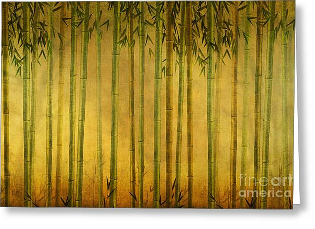 Spa work Mixed Media Greeting Cards - Bamboo Rising Greeting Card by Bedros Awak