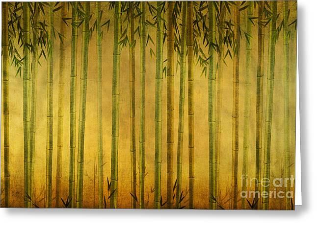 Vista Mixed Media Greeting Cards - Bamboo Rising Greeting Card by Bedros Awak