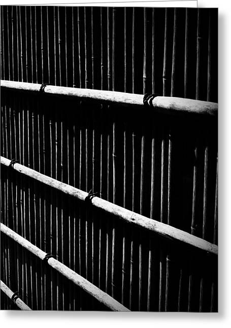 Bamboo Fence Greeting Cards - Bamboo Screen Greeting Card by Claire Carpenter
