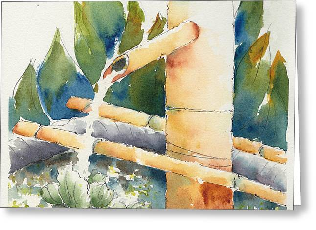 Bamboo Water Spout Greeting Card by Pat Katz