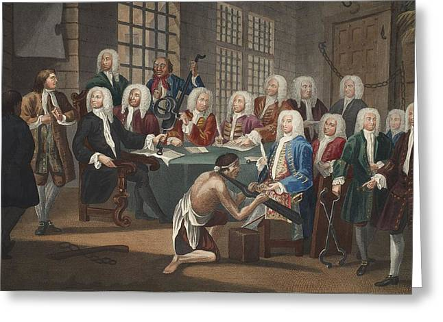 Notorious Greeting Cards - Bambridge On Trial For Murder Greeting Card by William Hogarth