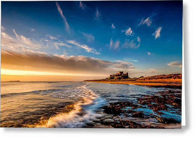 Sand Castles Greeting Cards - Bamburgh Castle Dawn Greeting Card by Dave Hudspeth