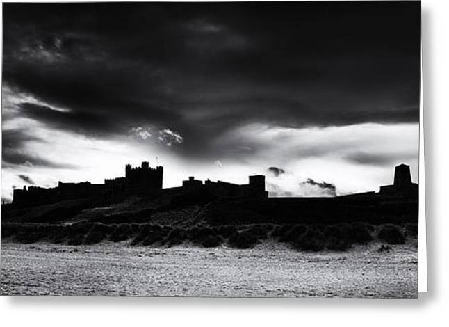 Light And Dark Greeting Cards - Bamburgh Castle Monochrome Greeting Card by Tim Gainey