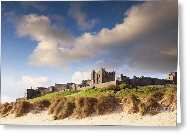 Sand Castles Greeting Cards - Bamburgh Castle Northumberland England Greeting Card by Colin and Linda McKie