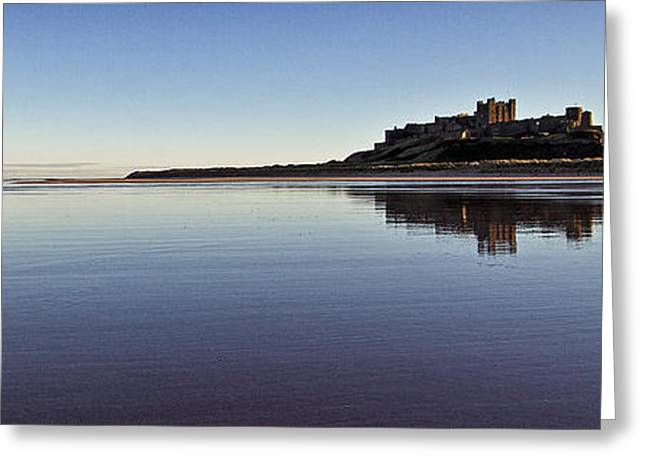 Sand Castles Greeting Cards - Bamburgh Castle Panorama Greeting Card by David Pringle