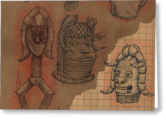 Sketchbook Greeting Cards - Bamum Grotesque Greeting Card by Don Michael