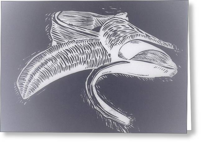 Lino Drawings Greeting Cards - B.a.n.a.n.a Greeting Card by Aaron Ebanks